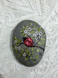 Ladybug painting rocks, hand painted stone, miniature stone art, beach stone, hand painted garden stones, decorative rocks