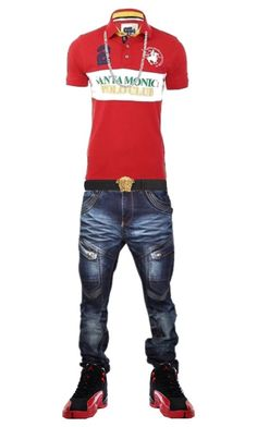 A menswear look from January 2017 featuring mens short sleeve polo shirts, mens adjustable belt and blue denim jeans. Browse and shop related looks. Dope Outfits For Guys, Swag Outfits Men, Cool Outfits, Male Outfits, Tomboy Outfits, Look Hip Hop, Tomboy Fashion, Men's Fashion, Street Fashion