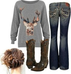 Love This Outfit! Hunting, Country Outfit, but i would wear real cowboy boots Country Girl Outfits, Country Girl Style, Country Fashion, Cowgirl Outfits, Country Girls, My Style, Cowgirl Clothing, Cowgirl Fashion, Southern Girl Style