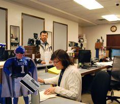 Flat Blue Devil visits the DukeCard office