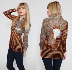 Vintage 70s Graphic Button Down Long Sleeve Boho Chic Portrait by LotusvintageNY