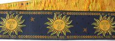 "Sun Ribbon 2 1/4"" x 1 yd in Blue, Yellow Gold - Super Nice Trim Woven Jacquard Ribbon - Heavy- Celestial Astrology"