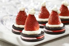 Recipe for Candy Cane Oreo Santa Hat Cookies