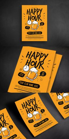 Happy Hour Beer Flyer Template AI, PSD - A4 #unlimiteddownloads