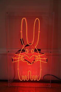 Neon bunny by London designer Peter Jensen - Photography by Elisabeth Blanchet
