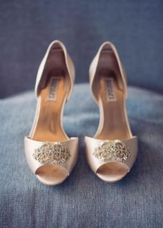 @Kelly Bruder mmmm if only they were affordable  Love, does not even begin to describe how we feel about these Badgley Mischka champagne colored shoes! They are like a dream! Photo by Sarah Kate Photography #wedding #shoes #badgleymischka