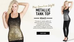 NS6425 Metallic Racer Back Ribbed Tank Top
