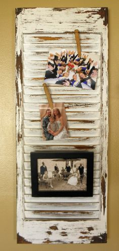 old window shutter upcycled to photo holder diy
