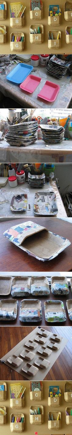 Repurpose Styrofoam trays as wall pockets (or recycle at IKEA). I don't really get a lot of these, but it's a good idea. Uses paper mache to strengthen, can paint however.
