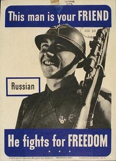 Image result for propaganda poster world war 2 soviets and americans