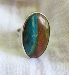 Oval Peruvian Opal  stone set in Sterling silver by Perunz on Etsy, $50.00
