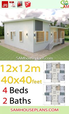 House Plans 12x12 Meter Shed roof 40x40 Feet - SamHousePlans One Story Homes, Shed Roof, Story House, Living Room Kitchen, Autocad, House Plans, Floor Plans, Outdoor Structures, House Design