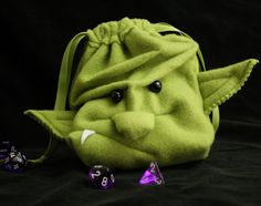 GrimLok the ORC dice bag drawstring pouch/ wristlet purse with a face - Goblin Ogre Monster plush DnD Magic Cards