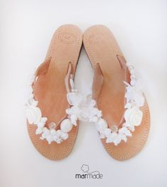 Handmade Leather Sandals with White Beads and Ribbons by MyMarmade, €47.00
