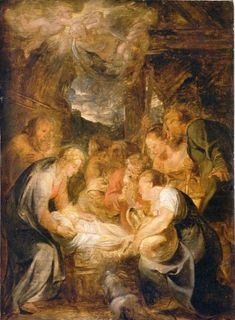 Adoration of the Shepherds, 1615, Peter Paul Rubens    Size: 34x46 cm