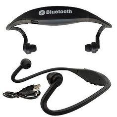 BLACK STEREO WIRELESS BLUETOOTH HANDSFREE HEADPHONE HEADSET MP3 W/ MIC PDA PHONE