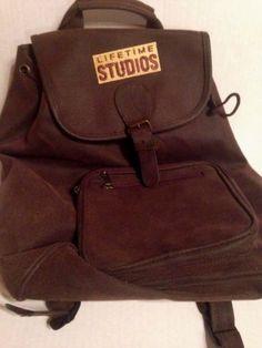 Lifetime-Studios-Backpack-safari-style-knapsack-brown-brushed-leatherette-Rugged