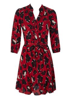 3/4 Sleeve Belted Shirt Dress Red & Navy Floral