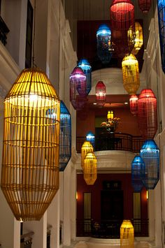 The colorful lights in the atrium of the Shanghai Mansion hotel in Bangkoks Chinatown section.