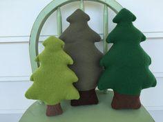 Woodland Evergreen Tree Toy Set of Three by AButtonAndAStitch