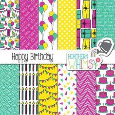"Birthday Digital Paper - ""Happy Birthday"" - turquoise, yellow, & magenta women's / ladies birthday semaless patterns - commercial use"