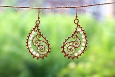 Golden Paisley earrings by SabiKrabi on Etsy
