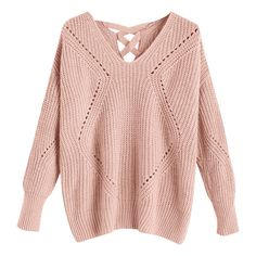 Sheer Criss Cross V Neck Sweater Pink (132495 PYG) ❤ liked on Polyvore featuring tops, sweaters, pink sheer top, transparent top, crisscross top, sheer sweaters and sheer top