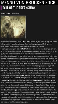"""""""First-rate theatrical progressive metal, the compositions show courage and quality"""" - CD Review - Out of the Freakshow - MennovonBruckenfock.nl Cd Review, Happy Reading, Composition, Album, Metal, Music, Movie Posters, Movies, Musica"""