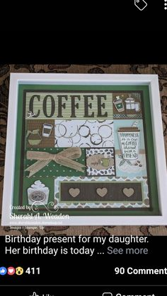 Stampin Up Sampler Shadow Box Art, Shadow Box Frames, Collage Frames, Collages, Scrapbook Cards, Scrapbooking, Box Frame Art, Coffee Cards, Stamping Up Cards
