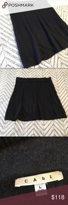 CAbi Charcoal Gray Sweater Skirt CAbi Charcoal Gray Sweater Skirt. Size large. In excellent pre-owned condition!  🎀Search my closet for your size 🎀BUNDLE and SAVE! 🎀REASONABLE offers WELCOME 🎀NO TRADES NO HOLDS 🎀Thank you for stopping by!❤️ CAbi Skirts A-Line or Full