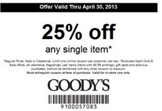 It looks like you're interested in our Goodys Coupons 25 Off Sale. We also offer many different Discount Coupons on our site, so check us out now and get to printing! Free Coupons, Printable Coupons, Printables, Off Sale, Discount Coupons, Fan, Style, Swag, Print Templates