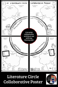 Literature Circle Collaborative Poster, EDUCATİON, An engaging shared reading activity for your literacy block! Reading Lessons, Reading Strategies, Reading Activities, Reading Skills, Teaching Reading, Reading Comprehension, Comprehension Strategies, Reading Books, Guided Reading