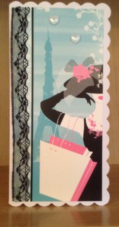 Handmade ladies card using So chic by Hunkydory
