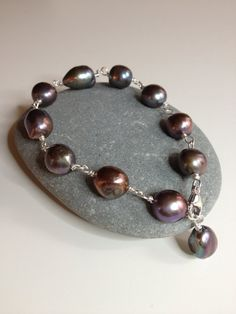 Black Baroque Pearl  Bracelet With Twist Design on by FMBdesigns, $130.00