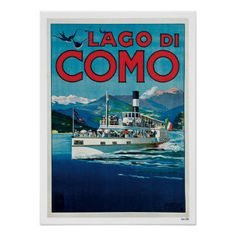 Vintage Travel Lake Como Italy Posters