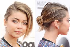 By leaving out a large chunk of hair, Sarah Hyland adds dimension to an otherwise traditional bun. To make this style a bit fancier, add a gem and pin back the loose hair.