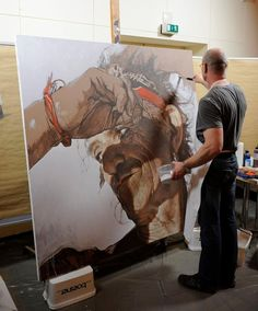 Sebastian Krüger at work in one of his mind blowing large scale acryling-paint pop-realistic illustrated portraits (gasp for air). Painting Process, Painting & Drawing, Ghost In The Machine, Exhibition, Workshop, Portraits, Art Studios, Artist At Work, Art Tutorials