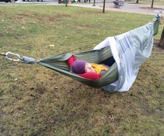 This project will show you step-by-step how to make a complete camping hammock, including the hammock, mesh bugnet, rainfly, and tree straps. I built ...