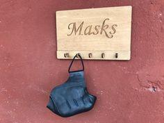 Face Mask Wall Hanger Wooden Key Holder Entryway Organizer Face Mask Hanger Wooden Key Hanger Wooden Key Holder or Wall Halloween key holder
