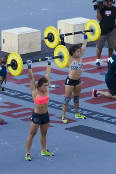 #CrossFitGames 2012 Day 2 final task: 10 overhead squats (155/105 lb.), 10 box jump-overs (24/20 inches), 10 fat-bar thrusters, (135/95 lb.),