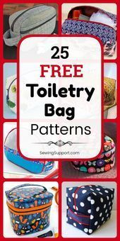 Bag DIY: 25 Free Toiletry Bag Patterns, diy sewing projects, and tutorials. Sew … Bag DIY: 25 Free Toiletry Bag Patterns, diy sewing projects, and tutorials. Sew zipper pouch and easy roll up… Diy Sewing Projects, Sewing Projects For Beginners, Sewing Hacks, Sewing Tutorials, Sewing Tips, Sewing Crafts, Dopp Kit, Patchwork Tutorial, Sewing Patterns Free