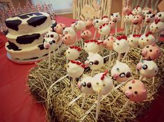 Farm animal cake pops for farm theme 1st birthday party