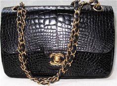 Vintage Chanel crocodile flap bag