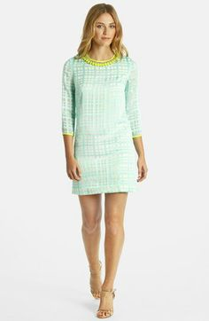 LABEL by five twelve Embellished Neck Plaid Crepe Shift Dress available at #Nordstrom