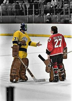 Simmons of the Kings and Meloche of the Barons meet at centre ice. Hockey Pads, Goalie Pads, Hockey Shot, Hockey Goalie, Hockey Pictures, Sports Pictures, Pittsburgh Penguins Hockey, Los Angeles Kings, Hockey Girls
