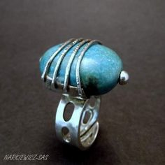 Turquoise in the corset - sterling silver ring