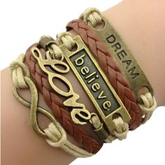 Love, Believe and Dream Bracelet Stack