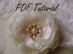 PDF tutorial Glass ivory pearl brooch Fabric by HaniBeading
