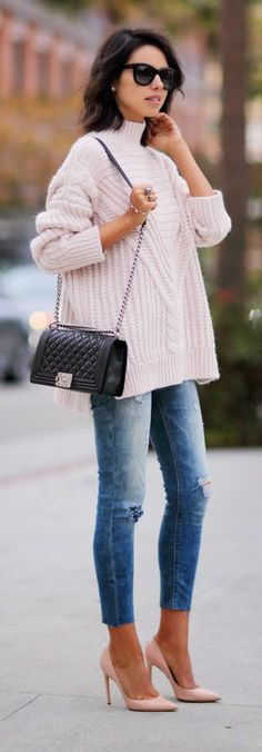 Oversized Knit Sweater + Pumps