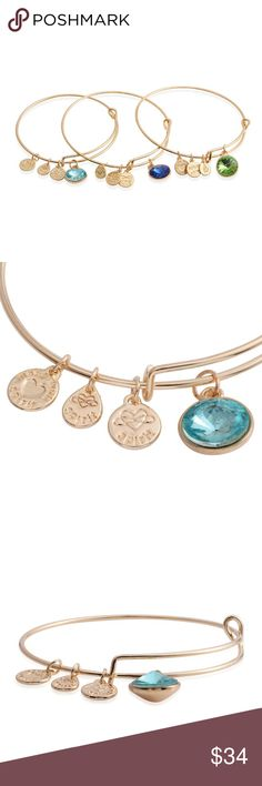 Set of 3 Blue, Aqua and Green bangle bracelets Set of 3 Blue, Aqua and Green Glass Gold tone Charm Bangles (8 in). Lend your daily wear and casuals a sweet and tender charm with the compelling allure of these set of three bangles. Adorned with multi-color glass, these 8-inch pieces are fashioned in gold tone. #20/2 Gemstone: Green and Turquoise Color Glass Round 12 Faceted  Gemstone: Blue Glass Round 3 Faceted Jewelry Bracelets